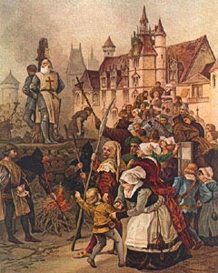 Jacques de Molay brændes på bålet