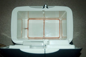 Lauter tun made from a food cooler box.